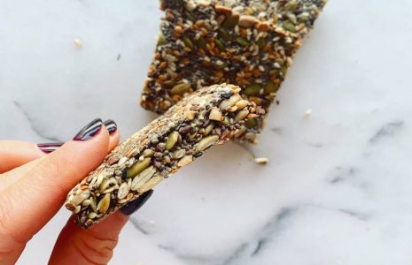 crackers made of pumpkin, sunflower, chia and flaxseeds