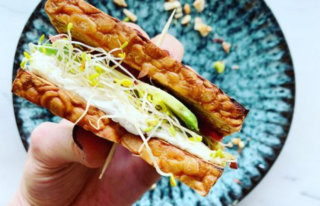 Vegan toasted tempeh sandwiches