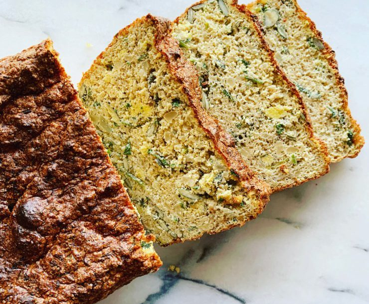 paleo, grain free loaf made from cauliflower rice & fresh herbs